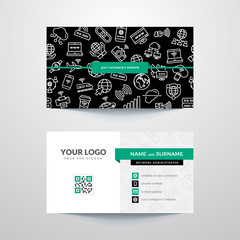 Business card template with internet and wi-fi symbols. IT Consultant. Network Administrator. Technical Support.