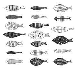 Set of hand drawn doodle fishes for kids design. Scandinavian outline style. Vector isolated illustration.