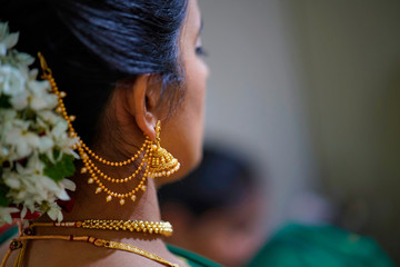 Traditional Indian Hindu bride with hair style and ornaments