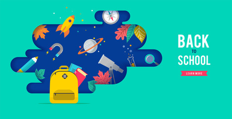 Back to school, backpack with speech bubble and many education icons, elements. Vector concept design