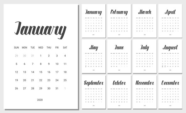 Vector Calendar for 2020 Year. Handwritten lettering. Set of 12 Months. Week Starts Sunday. Stationery Design. Objects isolated on white background.