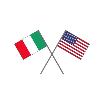 Vector illustration of the italian flag and the american (U.S.A.) flag crossing each other representing the concept of cooperation