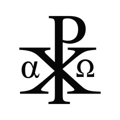 Vector illustration of the christian sacred Chi Rho symbol- Alpha and Omega version. Christ black monogram icon isolated on white background