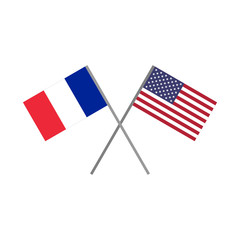 Vector illustration of the french flag and the american (USA) flag crossing each other representing the concept of cooperation