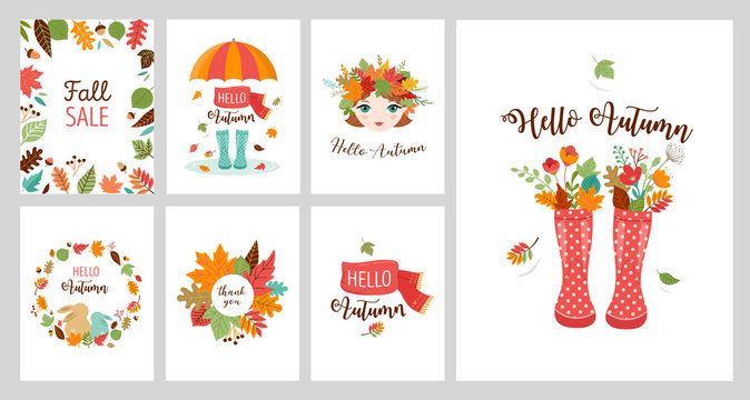 Autumn greeting cards, banners. Vector design set