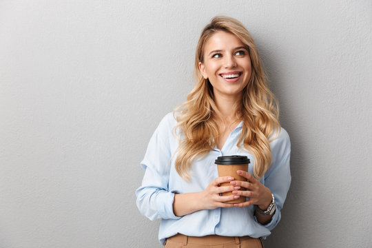 Attractive young blonde businesswoman wearing shirt