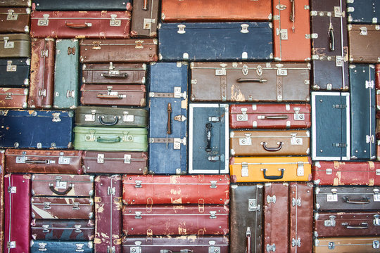 Suitcases for travel. Multicolored suitcases for clothes.