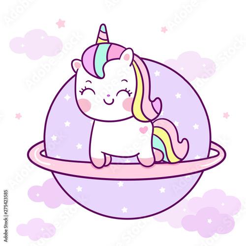 Cute Unicorn vector on the sky Kawaii pony cartoon pastel