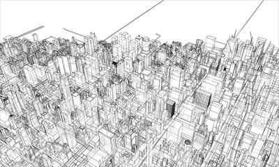 Aluminium Prints Art Studio Outline city concept. Wire-frame style