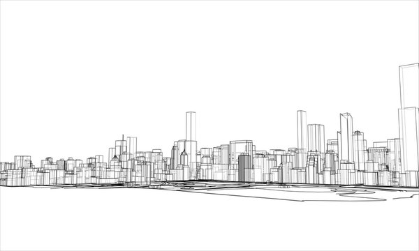 Outline city concept. Wire-frame style