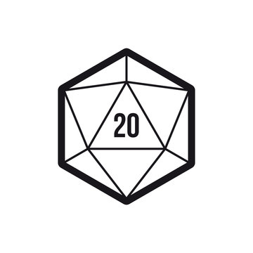 Vector 20 sided game dice multi sides. 20d dice black line art icon. Isolated on white background.