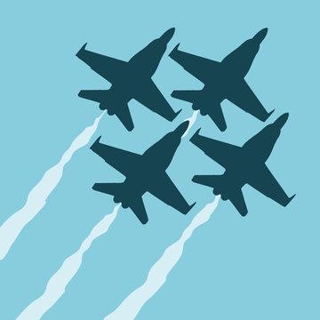 Vector flat modern style illustration of U.S.A. Navy's blue angels aerobatics