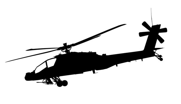 Vector illustration of apache helicopter silhouette isolated on white background - high quality illustration.