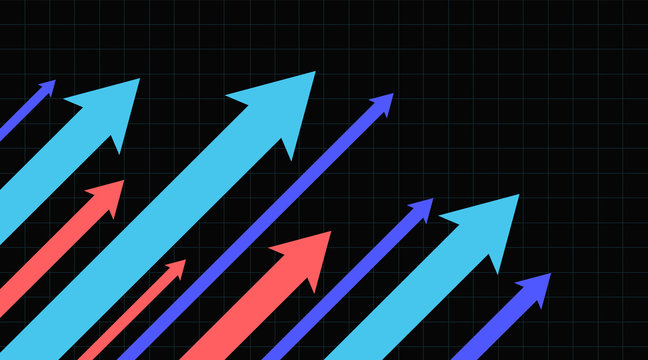 Stock market arrows going up. Growth success arrow. Vector illustration.