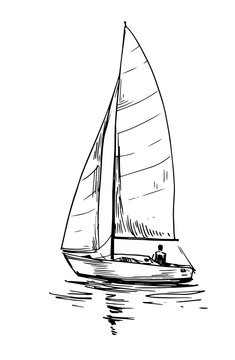 Set of outlines of yachts. Hand drawn illustration converted to vector