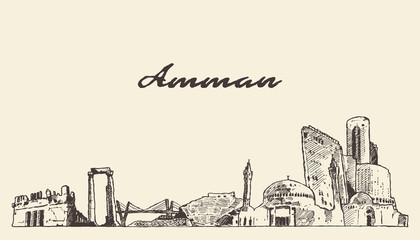 Wall Mural - Amman skyline Jordan hand drawn vector sketch