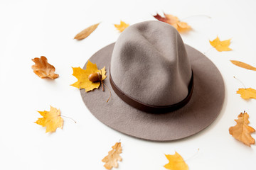 season, headwear and clothes concept - hat and fallen autumn leaves on white background