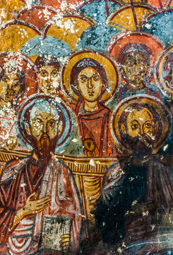 Turkey, Goreme National park and the rock sites of Cappadocia, murals of the Snake troglodyte church (14th century, representing the Old Testament, the 12 Tribes of Israel), Soganli valley (UNESCO World Heritage)