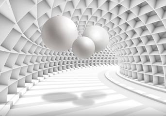 Illustration of 3D crystall ball silhouettes of dandelions pattern on decorative silver background 3D wallpaper and tunnel Wall mural