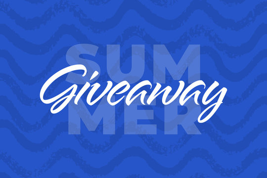 Vector nautical summer giveaway illustration for promotion in social network with lettering font. Advertising of giving present fo like or repost. Decoration banner for business account.