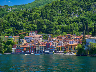 The small town of Varenna, Italy from the ferry to Bellagio