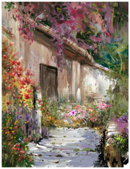 Abstract colorful flowers watercolor painting. Spring  with buildings and walls . - 275449515