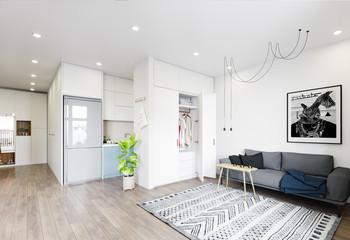 modern  living interior design. Wall mural