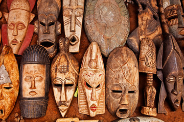 African art on display at an outdoor market in Accra Ghana