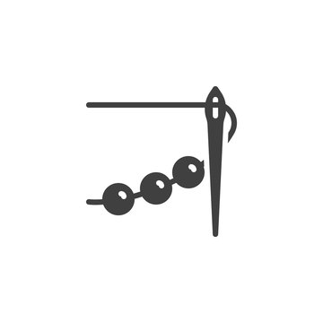 Sewing needle with thread and bead vector icon. filled flat sign for mobile concept and web design. Embroidery, needlework glyph icon. Symbol, logo illustration. Vector graphics