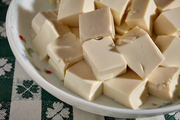 Cubes of silken tofu ready for cooking