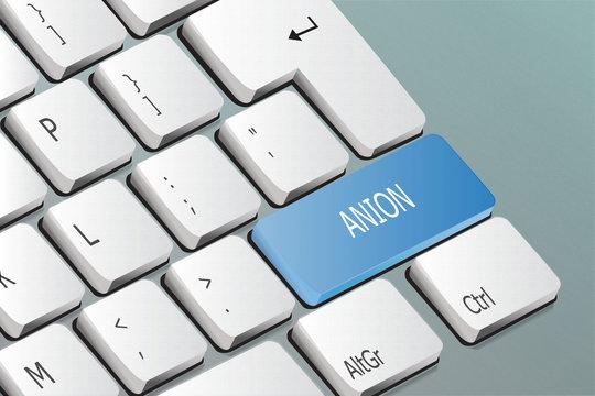 Anion written on the keyboard button
