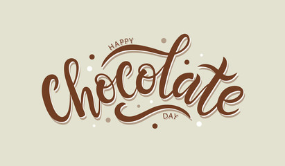 Happy chocolate day postcard or banner. Hand sketched Happy Choc