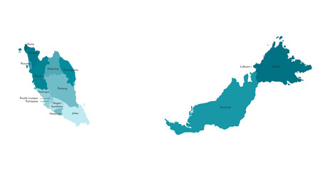 Vector isolated illustration of simplified administrative map of Malaysia. Borders and names of the regions. Colorful blue khaki silhouettes