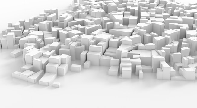 Abstract white city center. Cityscape background. 3d rendering.