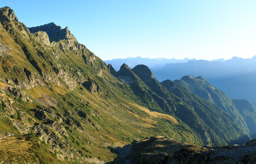 The beautiful mountains of Ticino, Switzerland, on a summers morning.