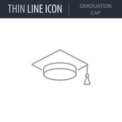 Symbol of Graduation Cap. Thin line Icon of College. Stroke Pictogram Graphic for Web Design. Quality Outline Vector Symbol Concept. Premium Mono Linear Beautiful Plain Laconic Logo