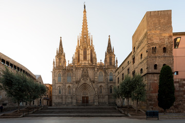 Foto auf Acrylglas Barcelona Panorama of Barcelona Cathedral of the Holy Cross and Saint Eulalia during sunrise, Barri Gothic Quarter in Barcelona, Catalonia, Spain.