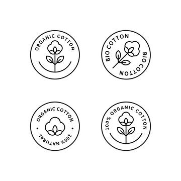 Natural Organic Cotton Liner labels and badges - Vector Round Icon - Sticker - Logo - Stamped - Tag Cotton Flower