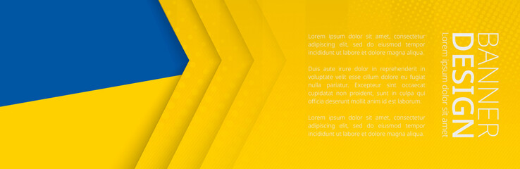 Wall Mural - Banner template with flag of Ukraine for advertising travel, business and other.