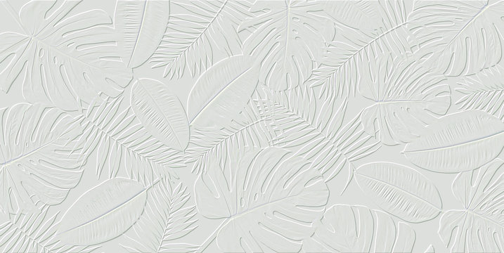 Horizontal artwork composition of trendy tropical green leaves - monstera, palm and ficus elastica isolated on white background (computer rendered).