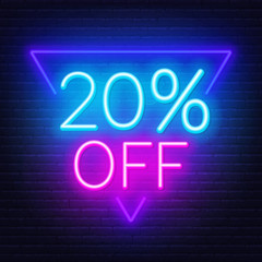 Fototapete - 20 percent off neon lettering on brick wall background