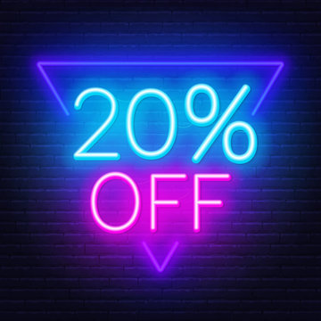 20 percent off neon lettering on brick wall background