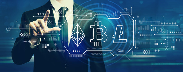Cryptocurrency - Bitcoin, Ethereum, Litecoin with businessman on a dark blue background