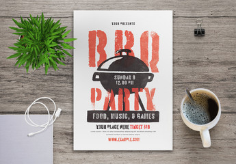 BBQ Party Flyer Layout with Graphic Elements