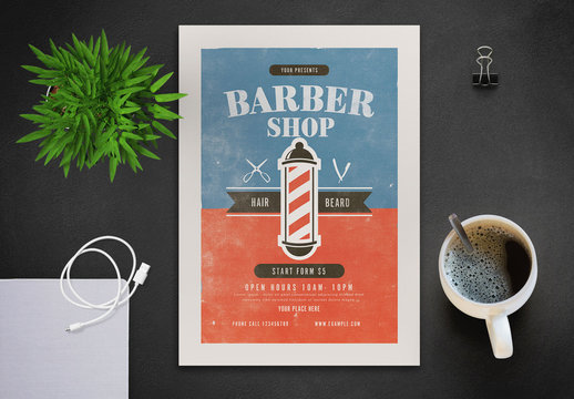 Barbershop Flyer Layout with Graphic Elements