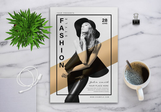 Fashion Style Flyer Layout with Graphic Elements
