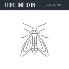 Symbol of Wasp Moth. Thin line Icon of Insect. Stroke Pictogram Graphic for Web Design. Quality Outline Vector Symbol Concept. Premium Mono Linear Beautiful Plain Laconic Logo