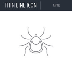 Symbol of Mite. Thin line Icon of Insect. Stroke Pictogram Graphic for Web Design. Quality Outline Vector Symbol Concept. Premium Mono Linear Beautiful Plain Laconic Logo