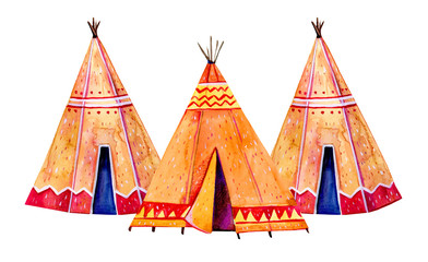 Fotobehang Indiërs Two Native American tipis. Stylized hand drawn watercolor illustration set