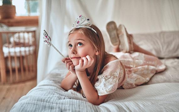 Princess girl at home